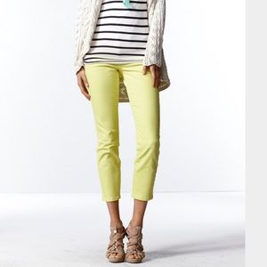 """CAbi """"Bree"""" Stretchy Yellow Cropped Jeans"""